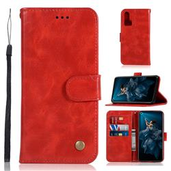 Luxury Retro Leather Wallet Case for Huawei Honor 20 Pro - Red