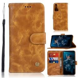 Luxury Retro Leather Wallet Case for Huawei Honor 20 Pro - Golden