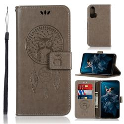 Intricate Embossing Owl Campanula Leather Wallet Case for Huawei Honor 20 Pro - Grey