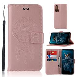 Intricate Embossing Owl Campanula Leather Wallet Case for Huawei Honor 20 Pro - Rose Gold
