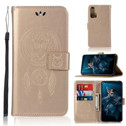 Intricate Embossing Owl Campanula Leather Wallet Case for Huawei Honor 20 Pro - Champagne