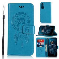 Intricate Embossing Owl Campanula Leather Wallet Case for Huawei Honor 20 Pro - Blue