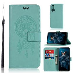 Intricate Embossing Owl Campanula Leather Wallet Case for Huawei Honor 20 Pro - Green