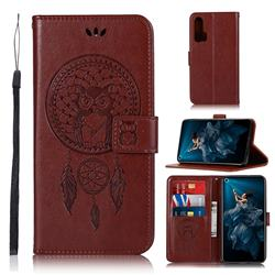 Intricate Embossing Owl Campanula Leather Wallet Case for Huawei Honor 20 Pro - Brown