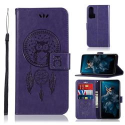 Intricate Embossing Owl Campanula Leather Wallet Case for Huawei Honor 20 Pro - Purple