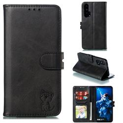 Embossing Happy Cat Leather Wallet Case for Huawei Honor 20 Pro - Black