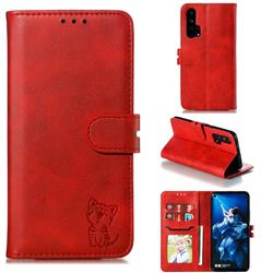Embossing Happy Cat Leather Wallet Case for Huawei Honor 20 Pro - Red