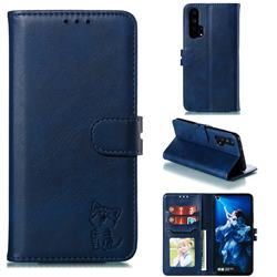 Embossing Happy Cat Leather Wallet Case for Huawei Honor 20 Pro - Blue