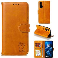 Embossing Happy Cat Leather Wallet Case for Huawei Honor 20 Pro - Yellow