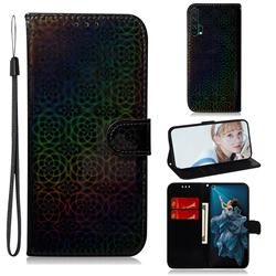 Laser Circle Shining Leather Wallet Phone Case for Huawei Honor 20 Pro - Black