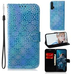 Laser Circle Shining Leather Wallet Phone Case for Huawei Honor 20 Pro - Blue