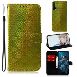 Laser Circle Shining Leather Wallet Phone Case for Huawei Honor 20 Pro - Golden