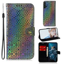Laser Circle Shining Leather Wallet Phone Case for Huawei Honor 20 Pro - Silver