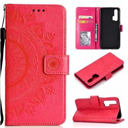 Intricate Embossing Datura Leather Wallet Case for Huawei Honor 20 Pro - Rose Red