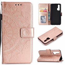 Intricate Embossing Datura Leather Wallet Case for Huawei Honor 20 Pro - Rose Gold