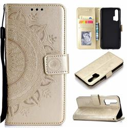 Intricate Embossing Datura Leather Wallet Case for Huawei Honor 20 Pro - Golden