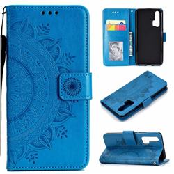Intricate Embossing Datura Leather Wallet Case for Huawei Honor 20 Pro - Blue
