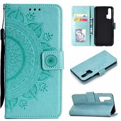 Intricate Embossing Datura Leather Wallet Case for Huawei Honor 20 Pro - Mint Green