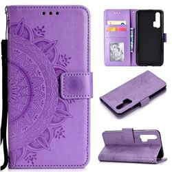 Intricate Embossing Datura Leather Wallet Case for Huawei Honor 20 Pro - Purple