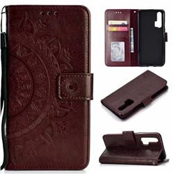 Intricate Embossing Datura Leather Wallet Case for Huawei Honor 20 Pro - Brown