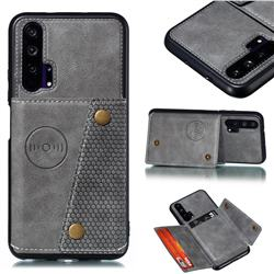 Retro Multifunction Card Slots Stand Leather Coated Phone Back Cover for Huawei Honor 20 Pro - Gray