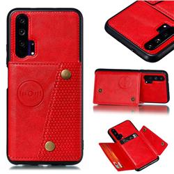 Retro Multifunction Card Slots Stand Leather Coated Phone Back Cover for Huawei Honor 20 Pro - Red