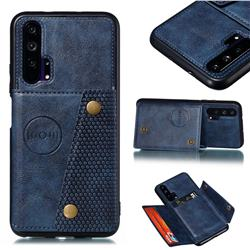 Retro Multifunction Card Slots Stand Leather Coated Phone Back Cover for Huawei Honor 20 Pro - Blue