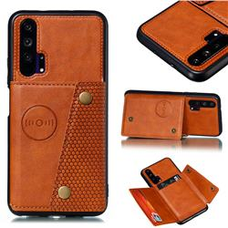 Retro Multifunction Card Slots Stand Leather Coated Phone Back Cover for Huawei Honor 20 Pro - Brown