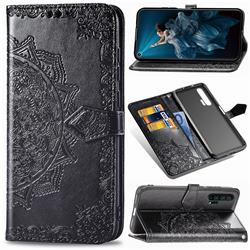 Embossing Imprint Mandala Flower Leather Wallet Case for Huawei Honor 20 Pro - Black