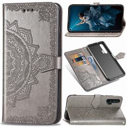 Embossing Imprint Mandala Flower Leather Wallet Case for Huawei Honor 20 Pro - Gray