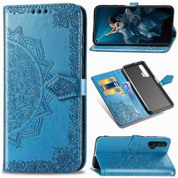 Embossing Imprint Mandala Flower Leather Wallet Case for Huawei Honor 20 Pro - Blue