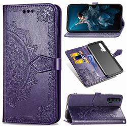 Embossing Imprint Mandala Flower Leather Wallet Case for Huawei Honor 20 Pro - Purple