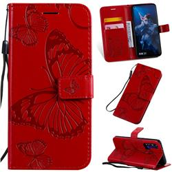 Embossing 3D Butterfly Leather Wallet Case for Huawei Honor 20 Pro - Red