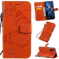 Embossing 3D Butterfly Leather Wallet Case for Huawei Honor 20 Pro - Orange