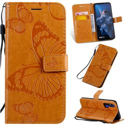 Embossing 3D Butterfly Leather Wallet Case for Huawei Honor 20 Pro - Yellow