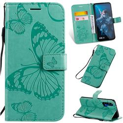 Embossing 3D Butterfly Leather Wallet Case for Huawei Honor 20 Pro - Green