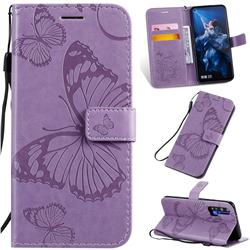 Embossing 3D Butterfly Leather Wallet Case for Huawei Honor 20 Pro - Purple