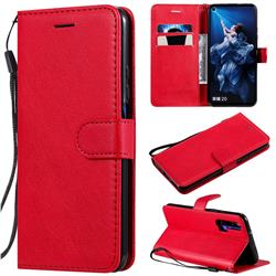 Retro Greek Classic Smooth PU Leather Wallet Phone Case for Huawei Honor 20 Pro - Red