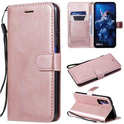 Retro Greek Classic Smooth PU Leather Wallet Phone Case for Huawei Honor 20 Pro - Rose Gold
