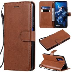 Retro Greek Classic Smooth PU Leather Wallet Phone Case for Huawei Honor 20 Pro - Brown