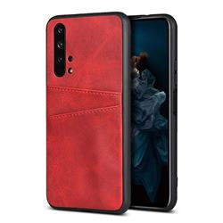 Simple Calf Card Slots Mobile Phone Back Cover for Huawei Honor 20 Pro - Red