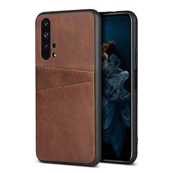 Simple Calf Card Slots Mobile Phone Back Cover for Huawei Honor 20 Pro - Coffee
