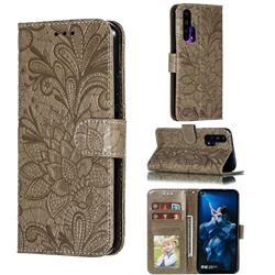 Intricate Embossing Lace Jasmine Flower Leather Wallet Case for Huawei Honor 20 Pro - Gray