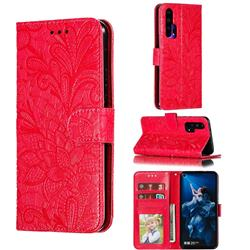 Intricate Embossing Lace Jasmine Flower Leather Wallet Case for Huawei Honor 20 Pro - Red