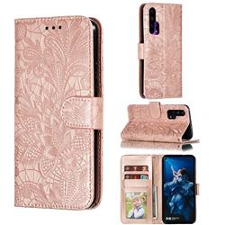 Intricate Embossing Lace Jasmine Flower Leather Wallet Case for Huawei Honor 20 Pro - Rose Gold