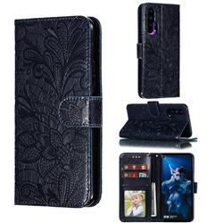 Intricate Embossing Lace Jasmine Flower Leather Wallet Case for Huawei Honor 20 Pro - Dark Blue