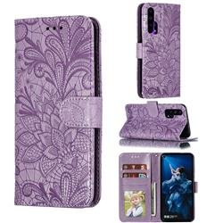 Intricate Embossing Lace Jasmine Flower Leather Wallet Case for Huawei Honor 20 Pro - Purple