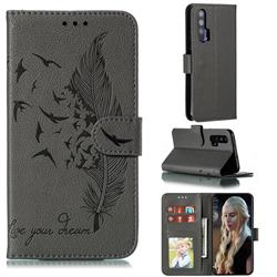 Intricate Embossing Lychee Feather Bird Leather Wallet Case for Huawei Honor 20 Pro - Gray