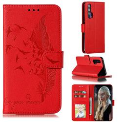 Intricate Embossing Lychee Feather Bird Leather Wallet Case for Huawei Honor 20 Pro - Red