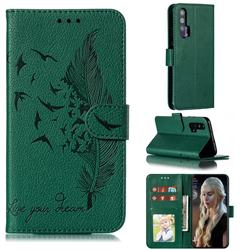 Intricate Embossing Lychee Feather Bird Leather Wallet Case for Huawei Honor 20 Pro - Green